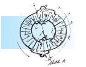 Bild 3 Carl Munters skiss på hans första rotor, kärnan i avfuktningsteknologin