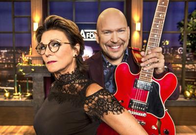 Programledare Katrin Sundberg och musikansvarig Björn A Ling. Foto: Jan Danielsson/SVT.