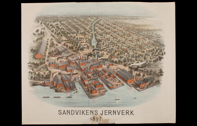 Digitalmuseum: Vy över Sandvikens Järnverk med omnejd (Sandvikens Jernverk) 1897.