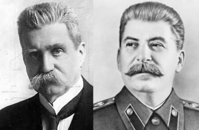 Hjalmar Branting och tyrannen Stalin får symbolisera demokrati vs diktaur - och det som är dessimellan.