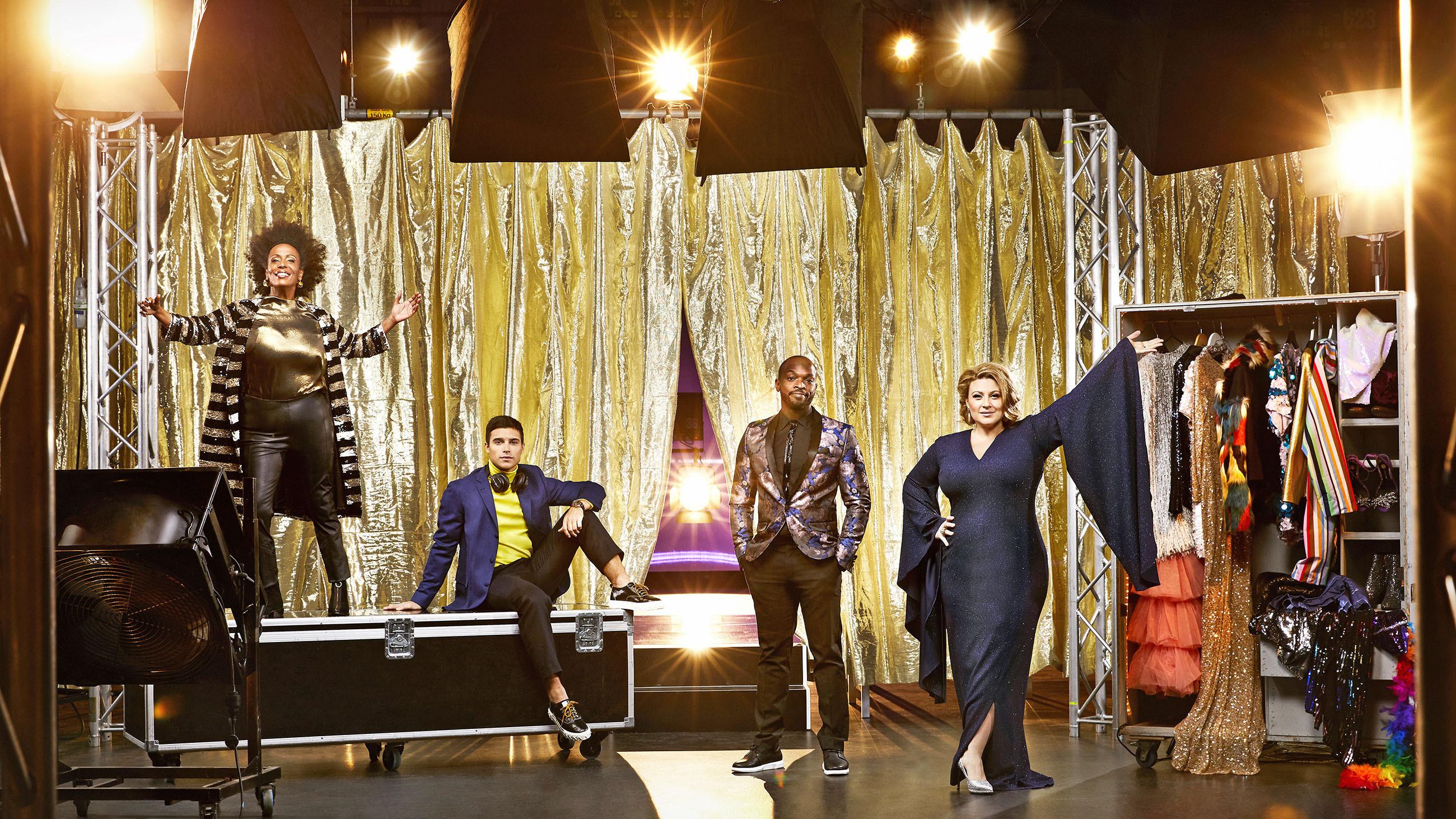 Marika Carlsson, Eric Saade, Kodjo Akolor och Sarah Dawn Finer Foto: Magnus Ragnvid/SVT.
