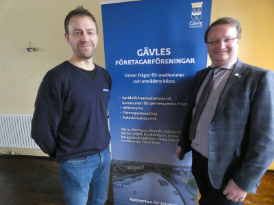 Jonas Alm, Gävles Företagarföreningar, tillsammans med riksdagsman Lars Beckman (M)