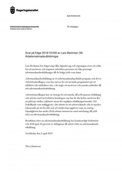 Arbetsmarknadsministerns svar till Lars Beckman