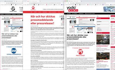 Pressmeddelanden och pressreleaser formuleras, publiceras och distribueras av den svenska presstjänsten Presstjänst.