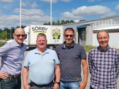 Per Olof Olsson, Lars Hallenberg, Cornelis Schrieken och Staffan Thegel på Sörby Handelsträdgård.