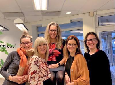 Från vänser Hanna Stranne, Emma Evensson, Chatarina Olsson Ellison och i mitten från vänster Therese Carhed, Emma Lundberg Ivarsson