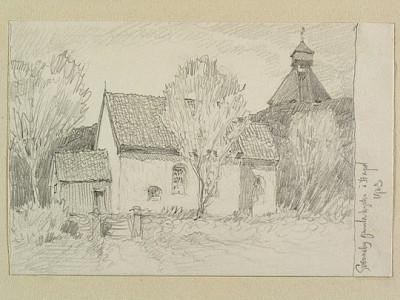 Svenneby gamla kyrka med klockstapeln, teckning