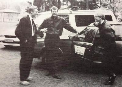 Leif Holmgren, Magnus Carlsson och Stefan Olsson på Taxi Stor & Liten i Boulognerskogen 1991.