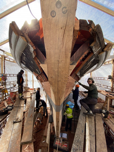 Reparationsarbete i dockan - Beckholmen - foto Anne Sofie Eriksson