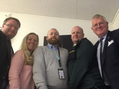 Lars Beckman, Birgittha Bjerkén, Lars Göransson och Olof Wikblom, båda Avarn Security, samt Anders Jansson