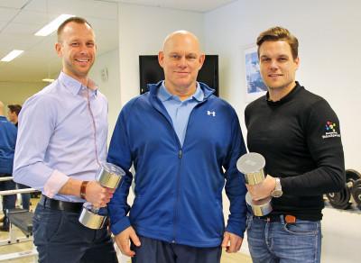 Björn Lönn från Holmsund Invest, Niclas Carlson och Christian Wallmark på Restaurang Teknikparken är redo för träning och rehab i Teknikparken.
