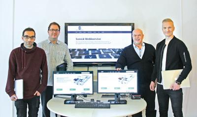 Grundarna av Presstjänst fr.v. Henrik Dahl, Stefan Wennberg, Joe Formgren och Emanuel Golabiewski på Precis Reklam i Gävle.